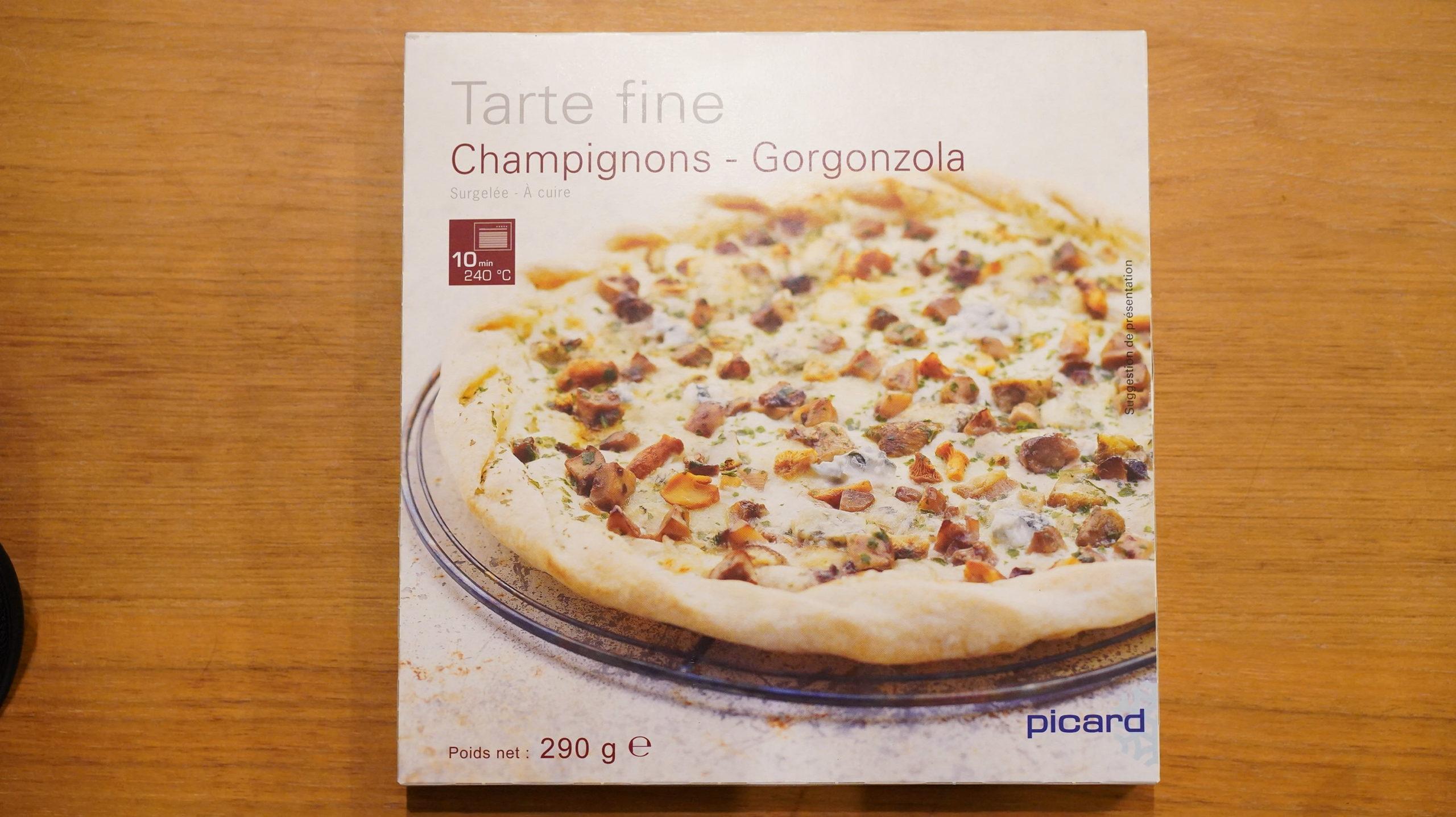 ピカールのおすすめ冷凍食品「きのことゴルゴンゾーラチーズの薄生地タルト」のパッケージ写真