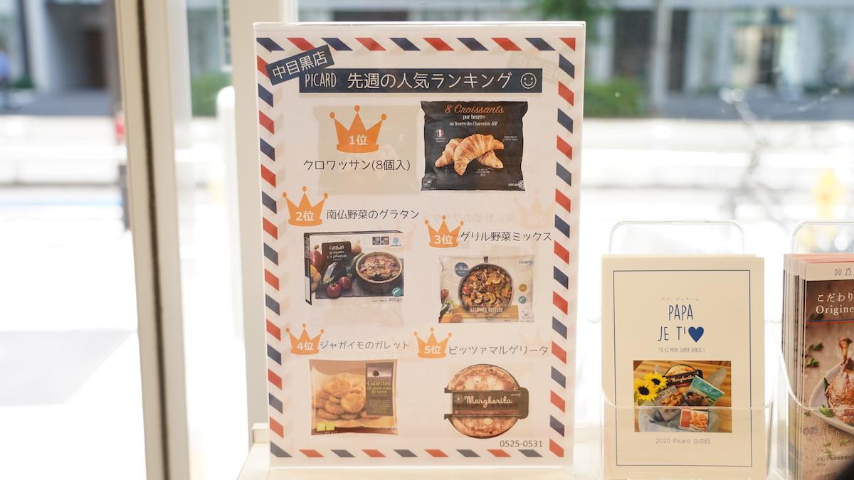 ピカール店内の人気ランキングボードの写真
