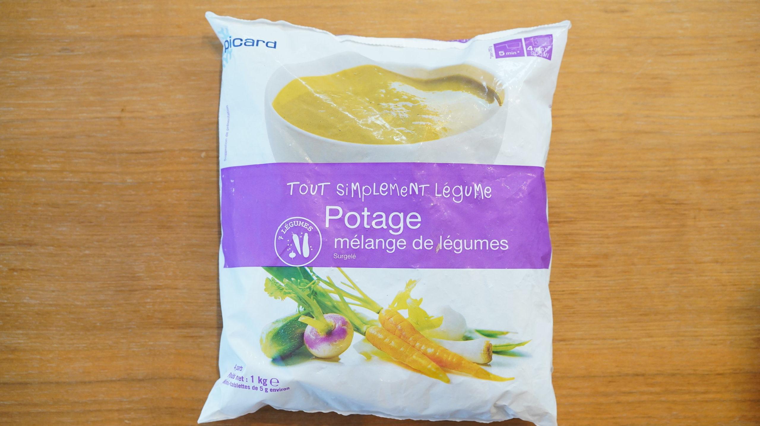 ピカールのおすすめ冷凍食品「ミックス野菜のポタージュ」のパッケージ写真