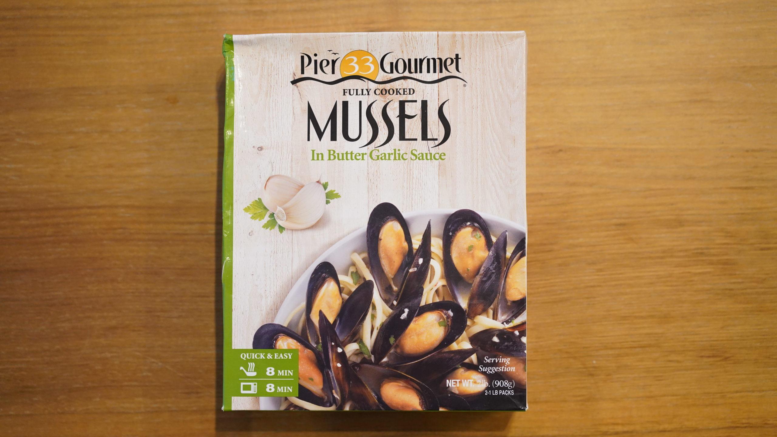 コストコのおすすめ冷凍食品「ムール貝バターガーリック味のパスタソース」のパッケージ写真