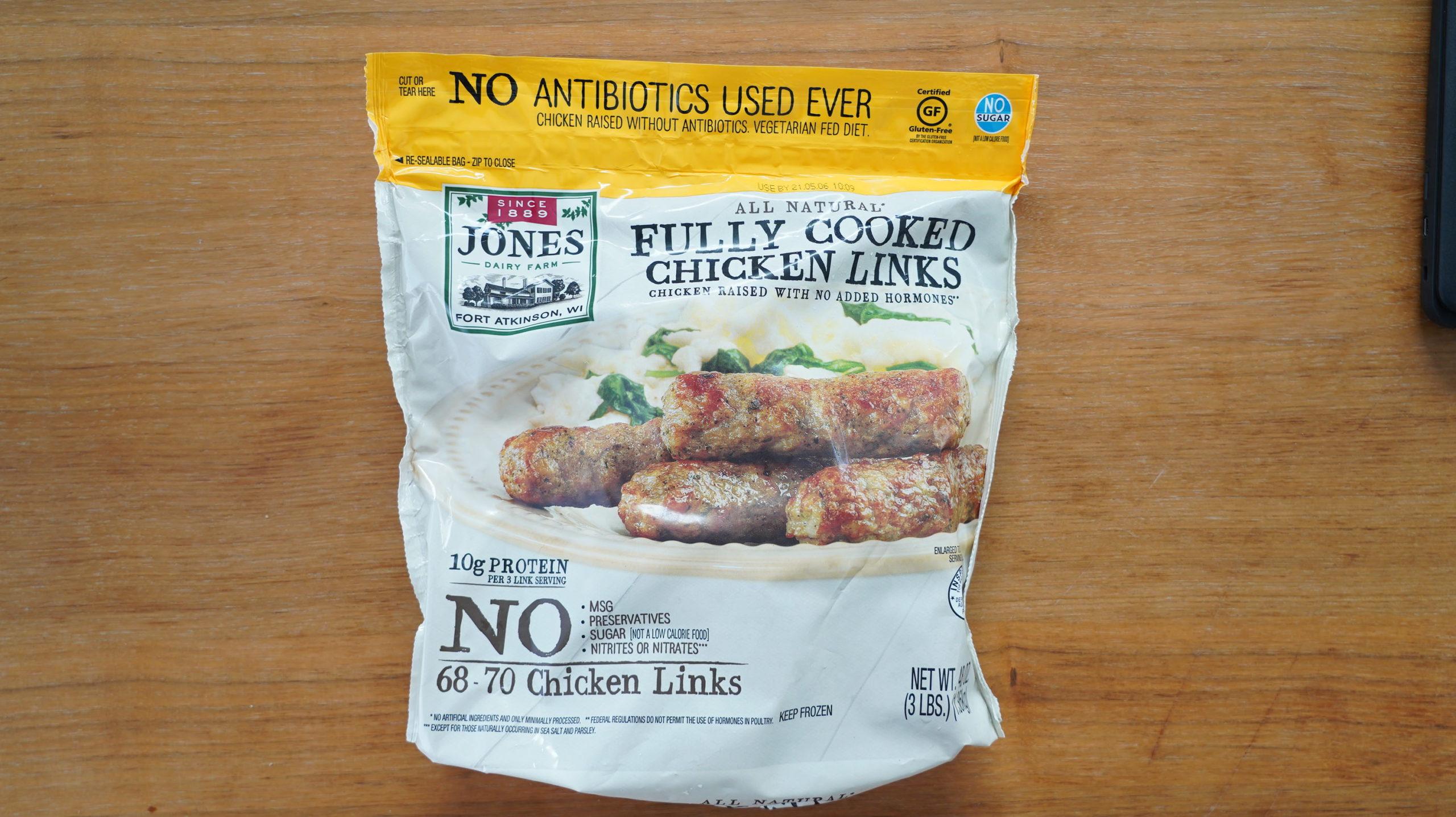 コストコのおすすめ冷凍食品「ジョーンズ デイリーファーム チキンリンクス」のパッケージ写真
