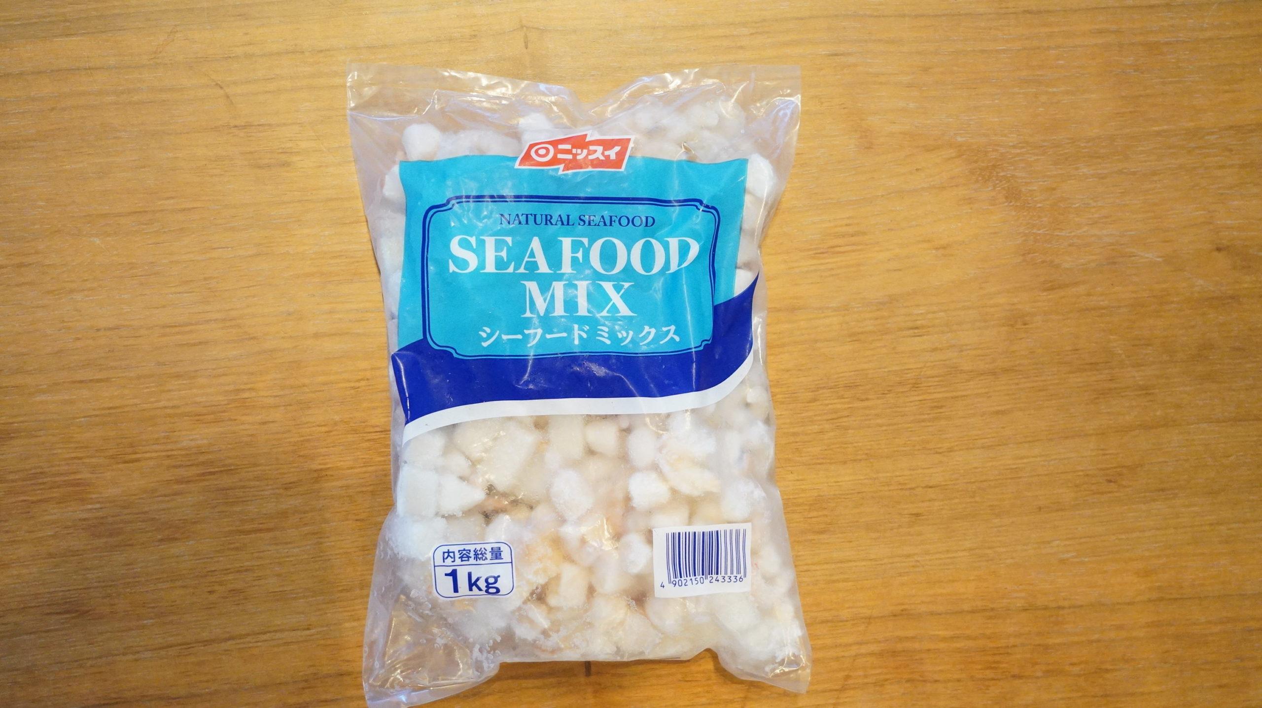 コストコのおすすめ冷凍食品「ニッスイ シーフードミックス」のパッケージ写真