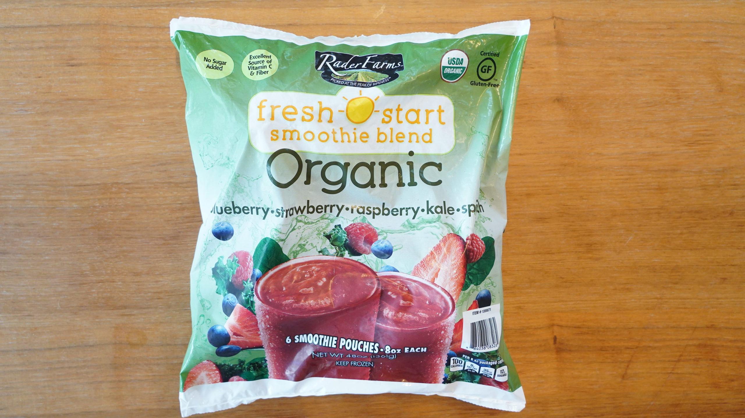 コストコのおすすめ冷凍食品「オーガニック フレッシュスタート スムージーブレンド」のパッケージ写真