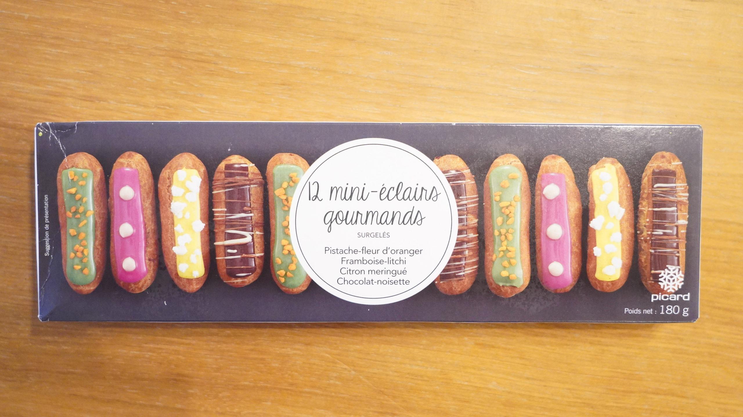 ピカールのおすすめ冷凍食品「食いしん坊のミニエクレア」のパッケージ写真