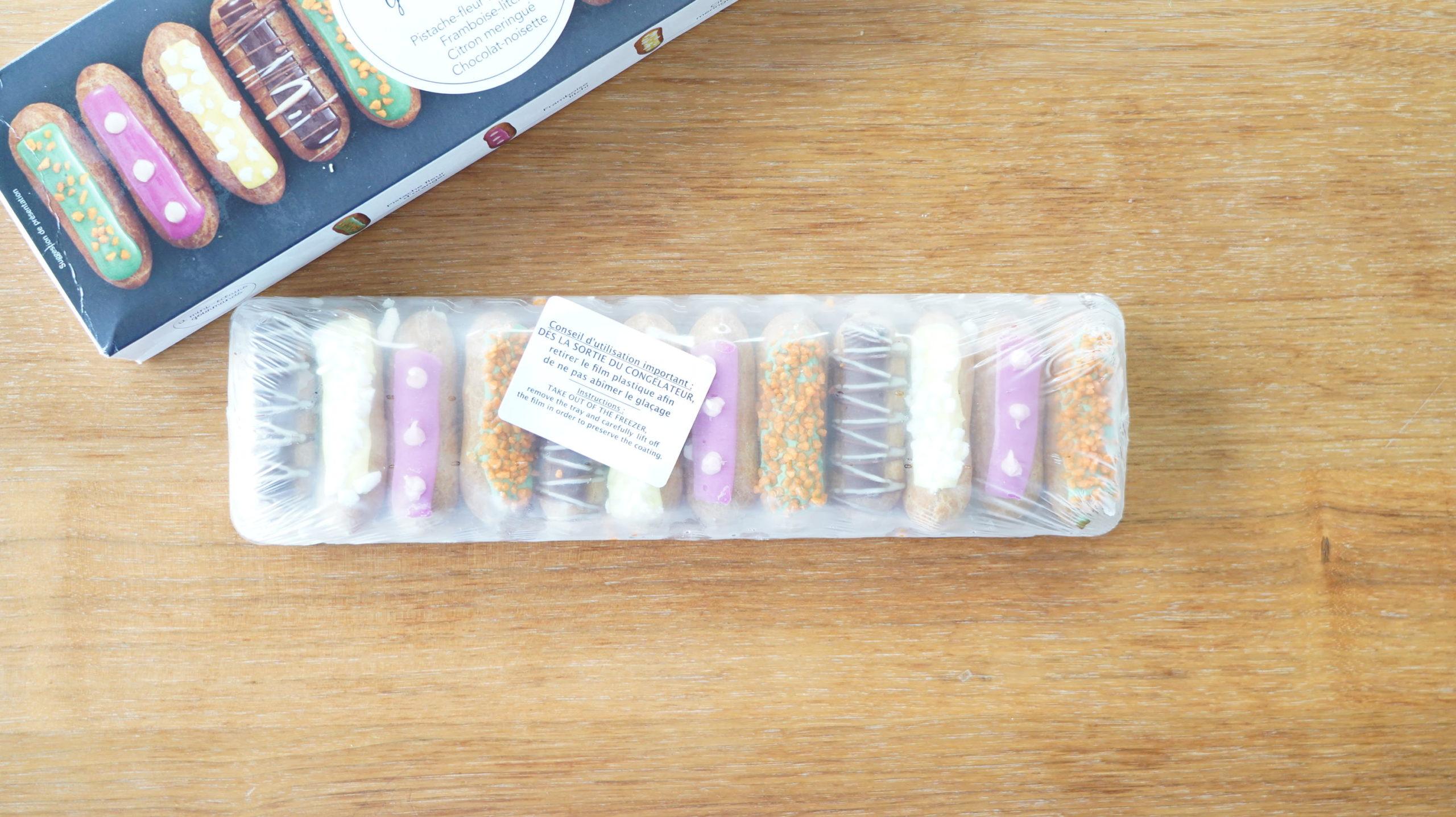 ピカールの冷凍食品「食いしん坊のミニエクレア」に書かれたフランス語のメッセージの写真