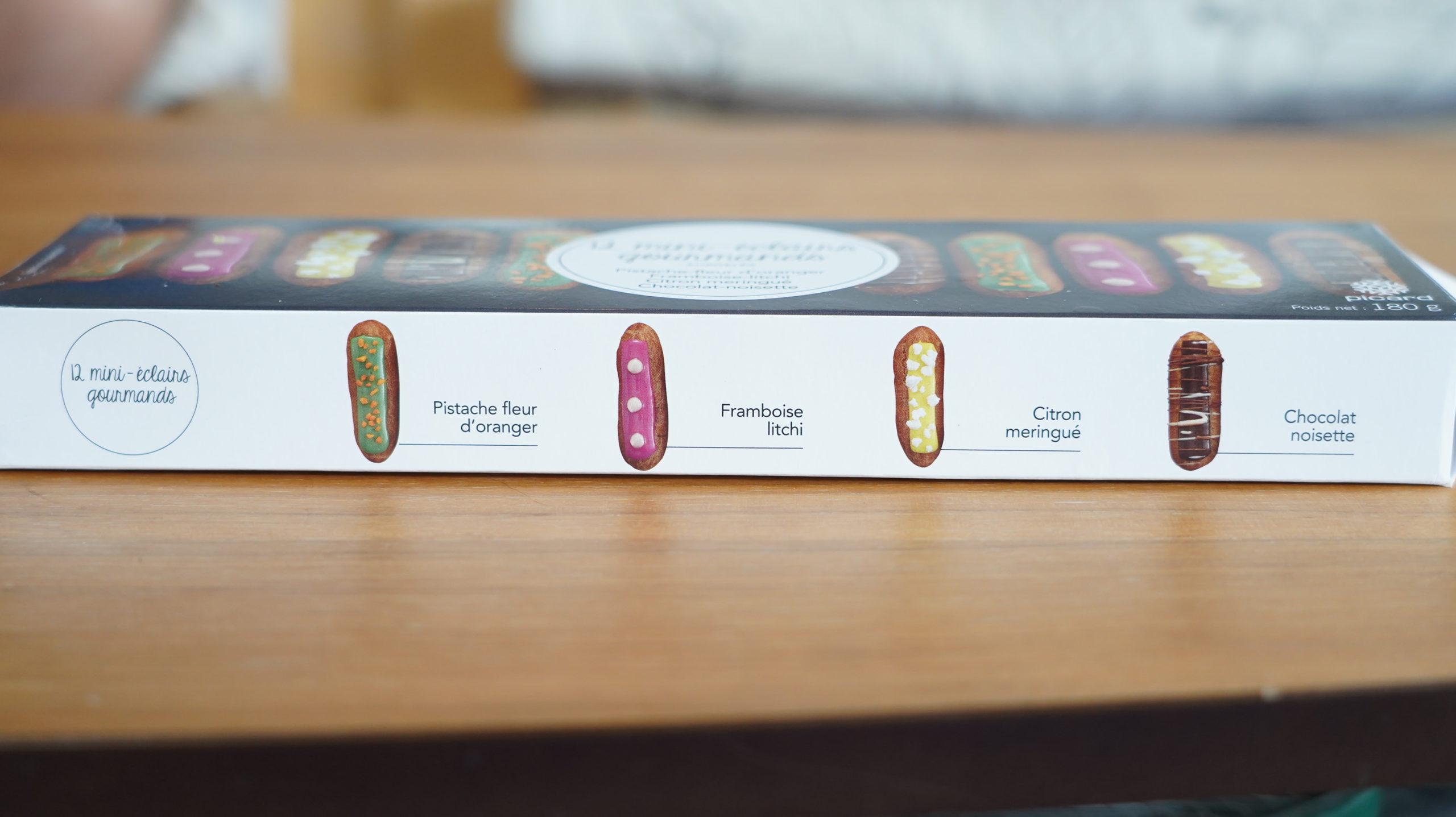 ピカールの冷凍食品「食いしん坊のミニエクレア」の箱の側面の写真