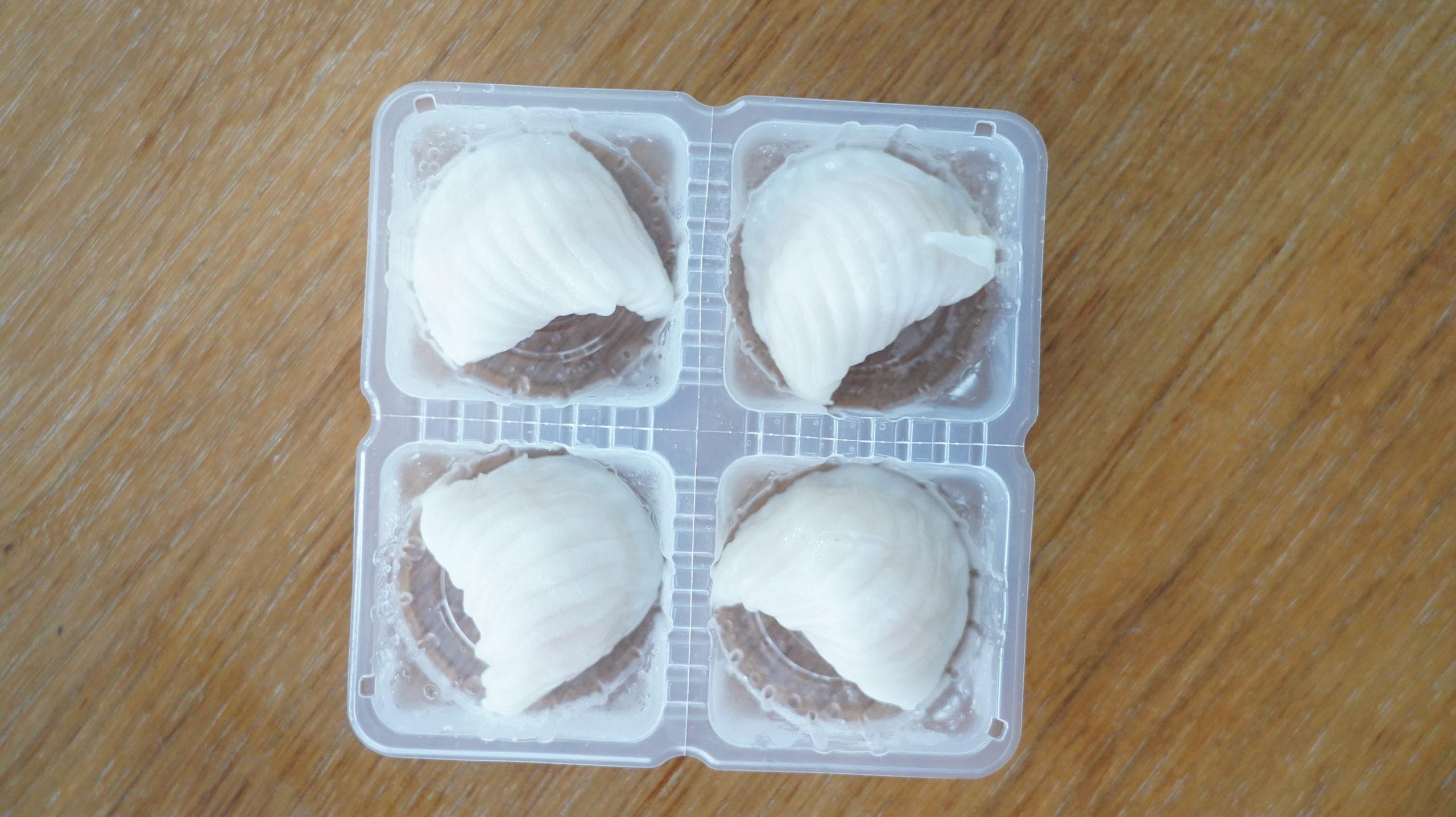 セブンイレブンの冷凍食品「もちもちの皮・海老蒸し餃子」の中身の写真