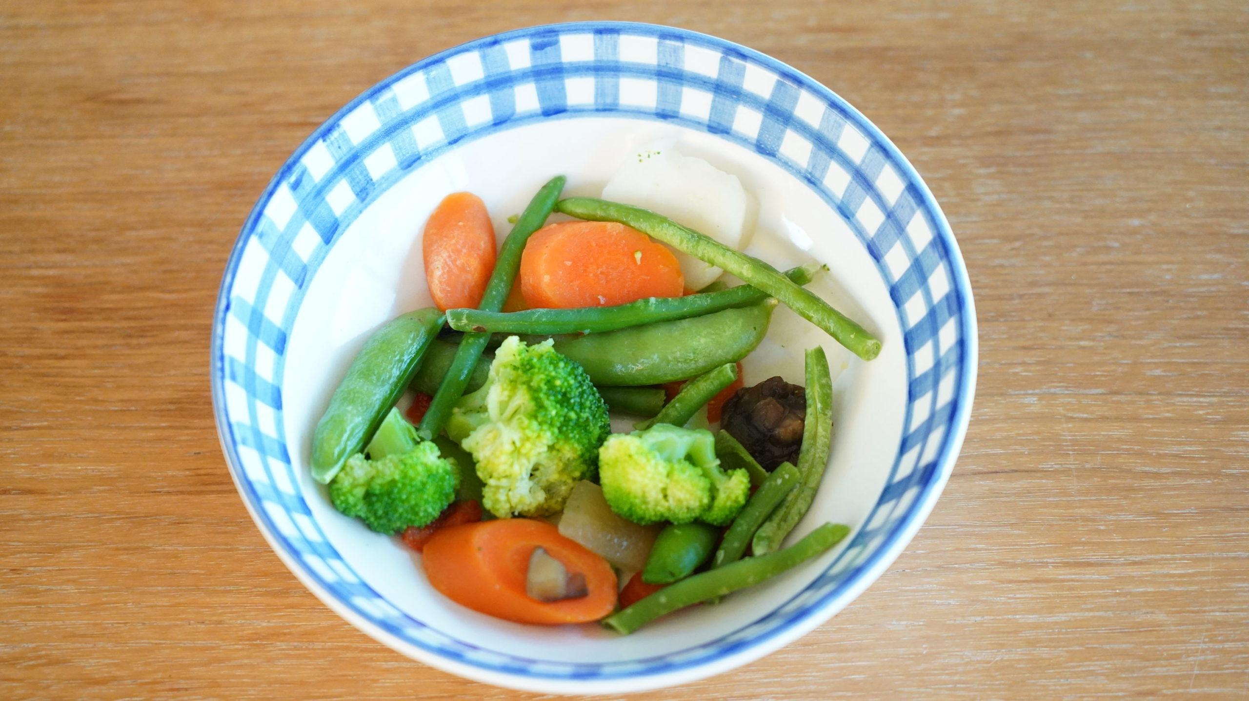 コストコの冷凍食品「ステアフライ・ベジタブルブレンド」の野菜の写真