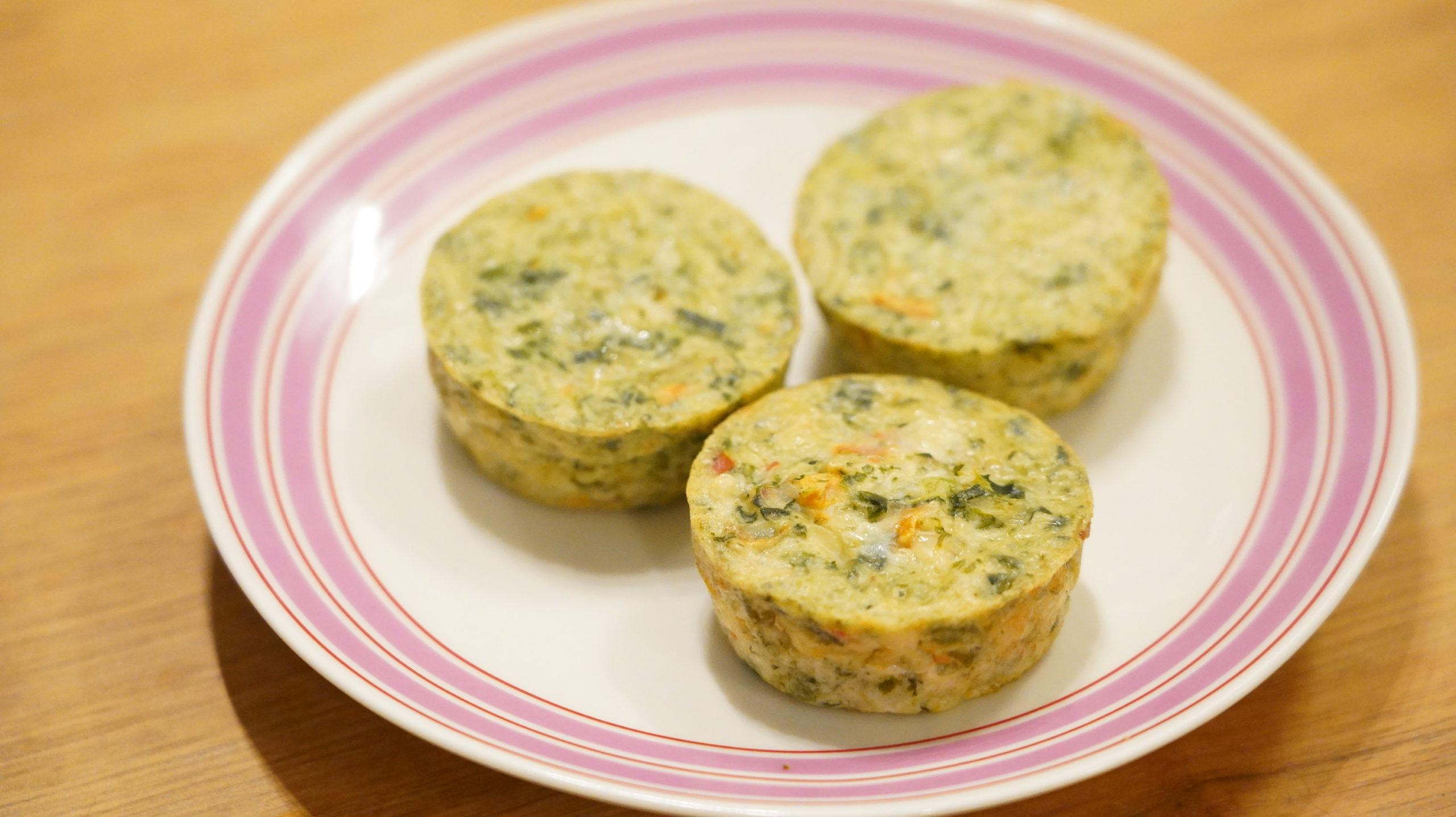 コストコの冷凍食品「ほうれん草のフリッタータ」のクローズアップ写真