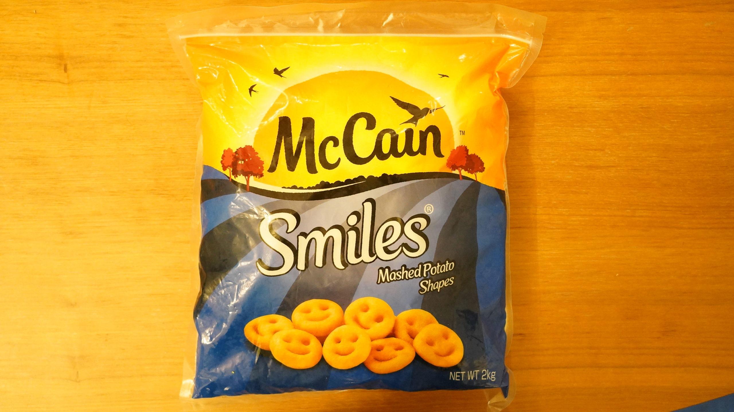 コストコの冷凍食品「マッケイン・スマイルポテト」のパッケージ写真
