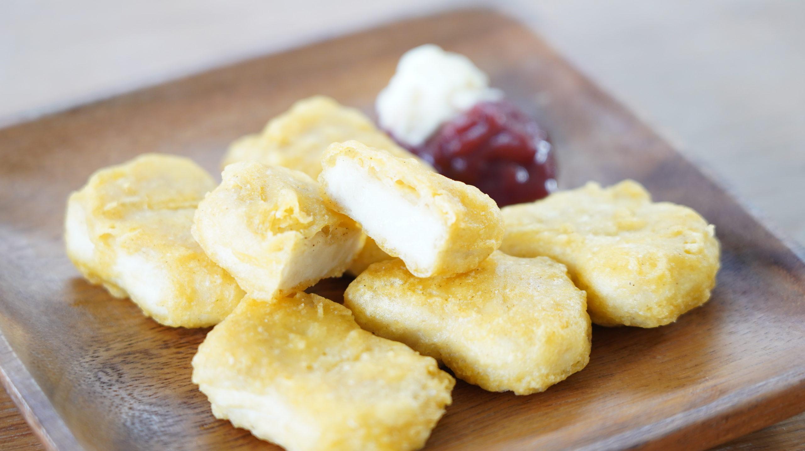 コストコの冷凍食品「CP チキンナゲット」の断面の写真