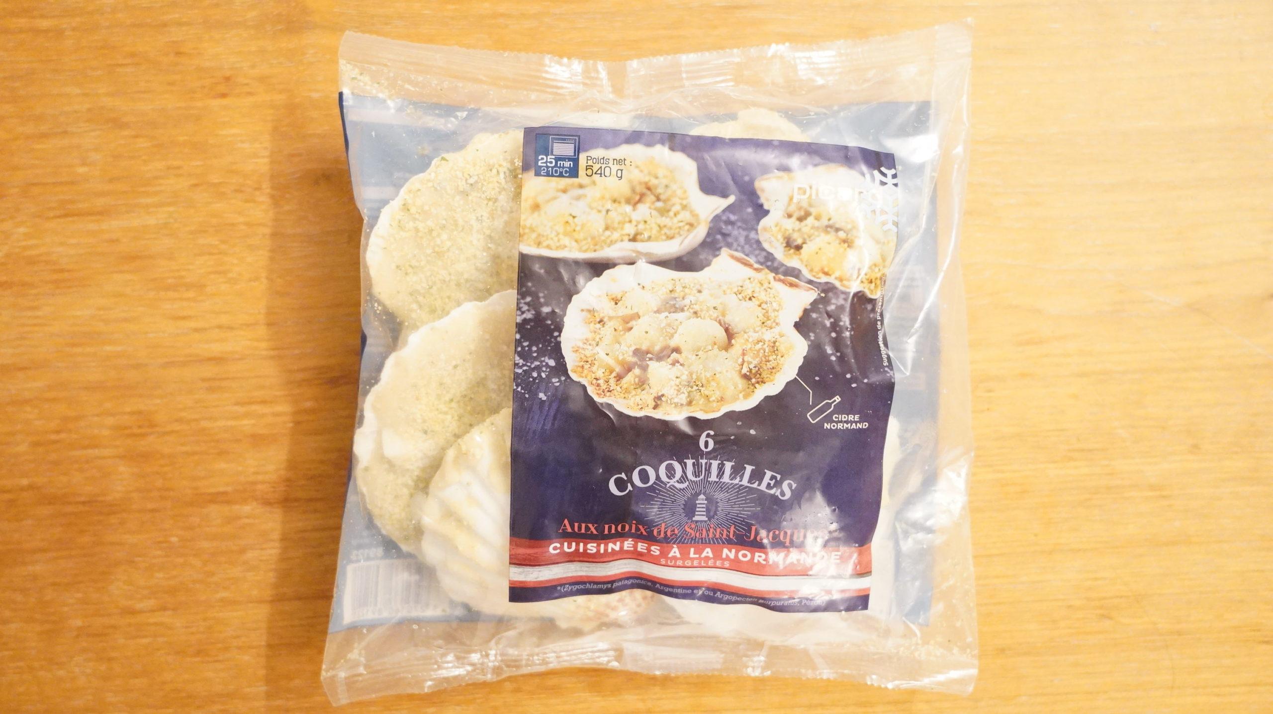 ピカールの冷凍食品「サンジャックのオーブン焼き・ノルマンディ―風」のパッケージ写真