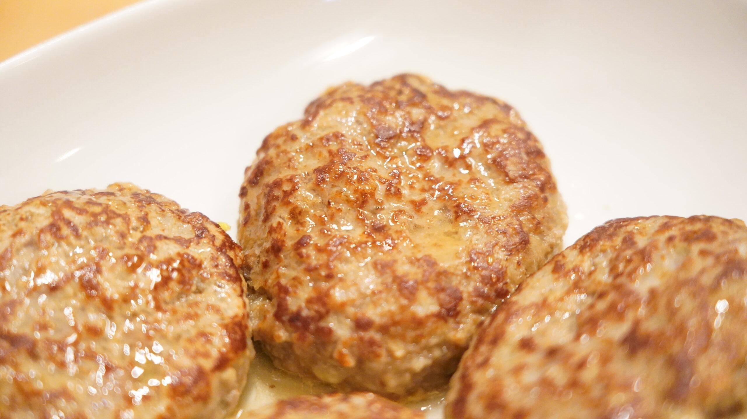 生協宅配の冷凍食品「肉汁じゅわっとハンバーグ」の拡大写真
