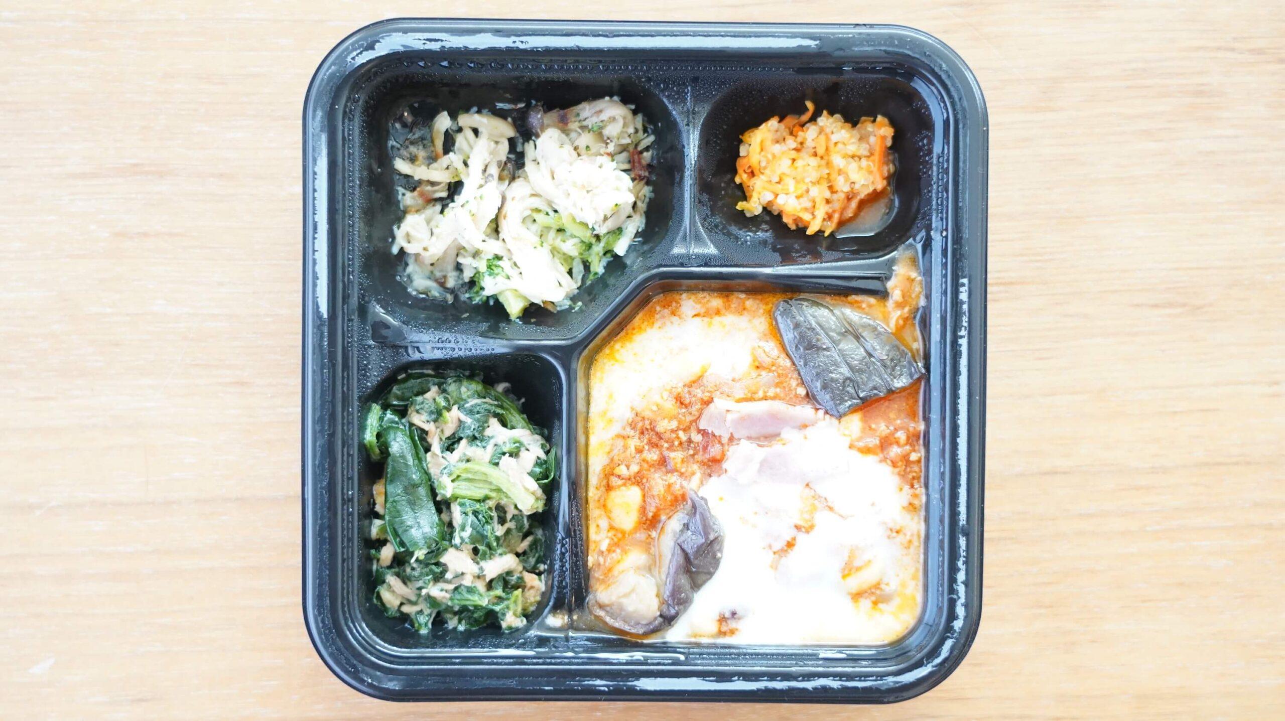 ライザップ(RIZAP)で食事制限してダイエットする際に使う宅食用ボディメイク冷凍弁当「サポートミール」(健康食品)の「チリコンカン」の写真