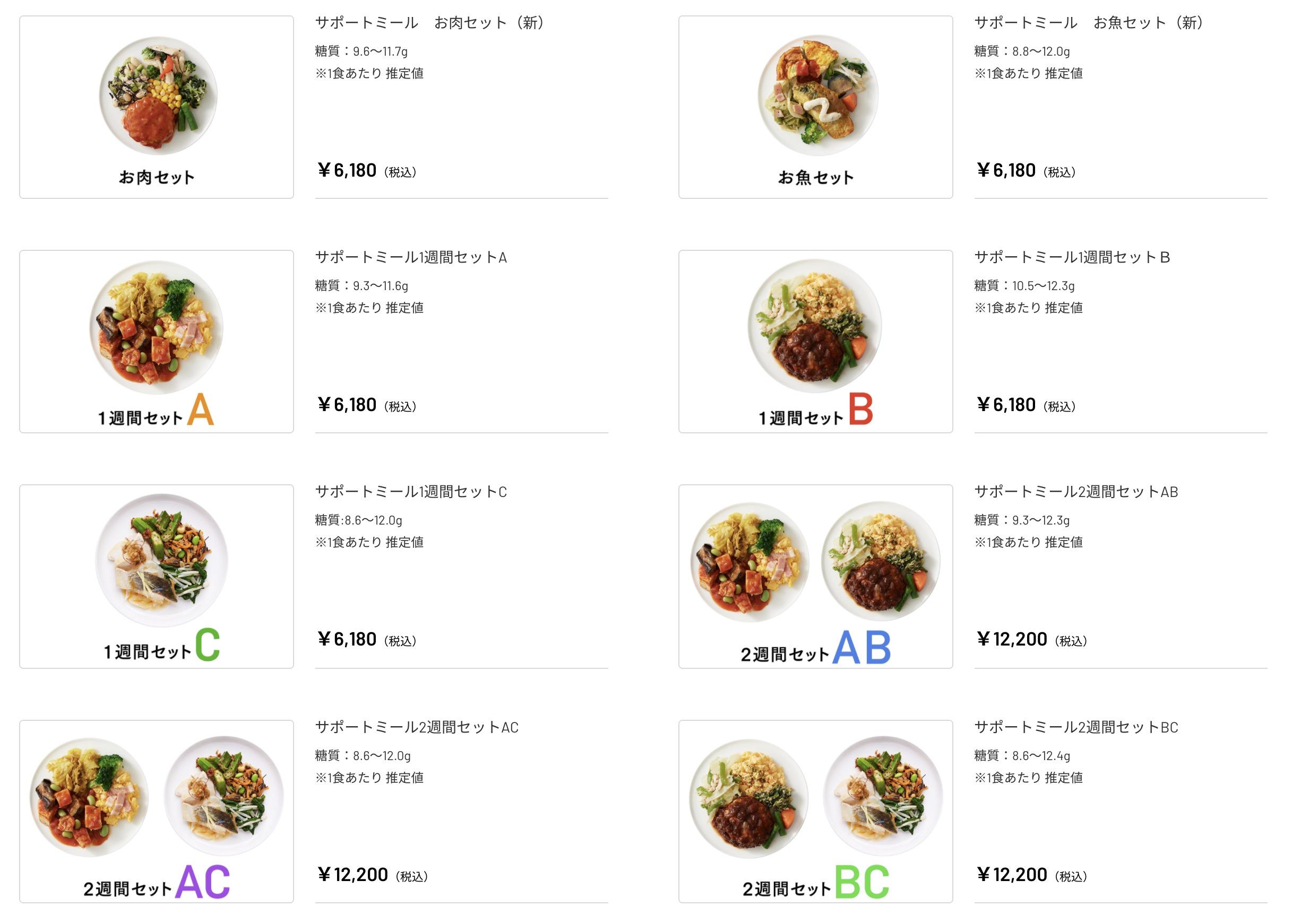 ライザップ(RIZAP)で食事制限してダイエットする際に使う宅食用ボディメイク冷凍弁当「サポートミール」(健康食品)の価格表