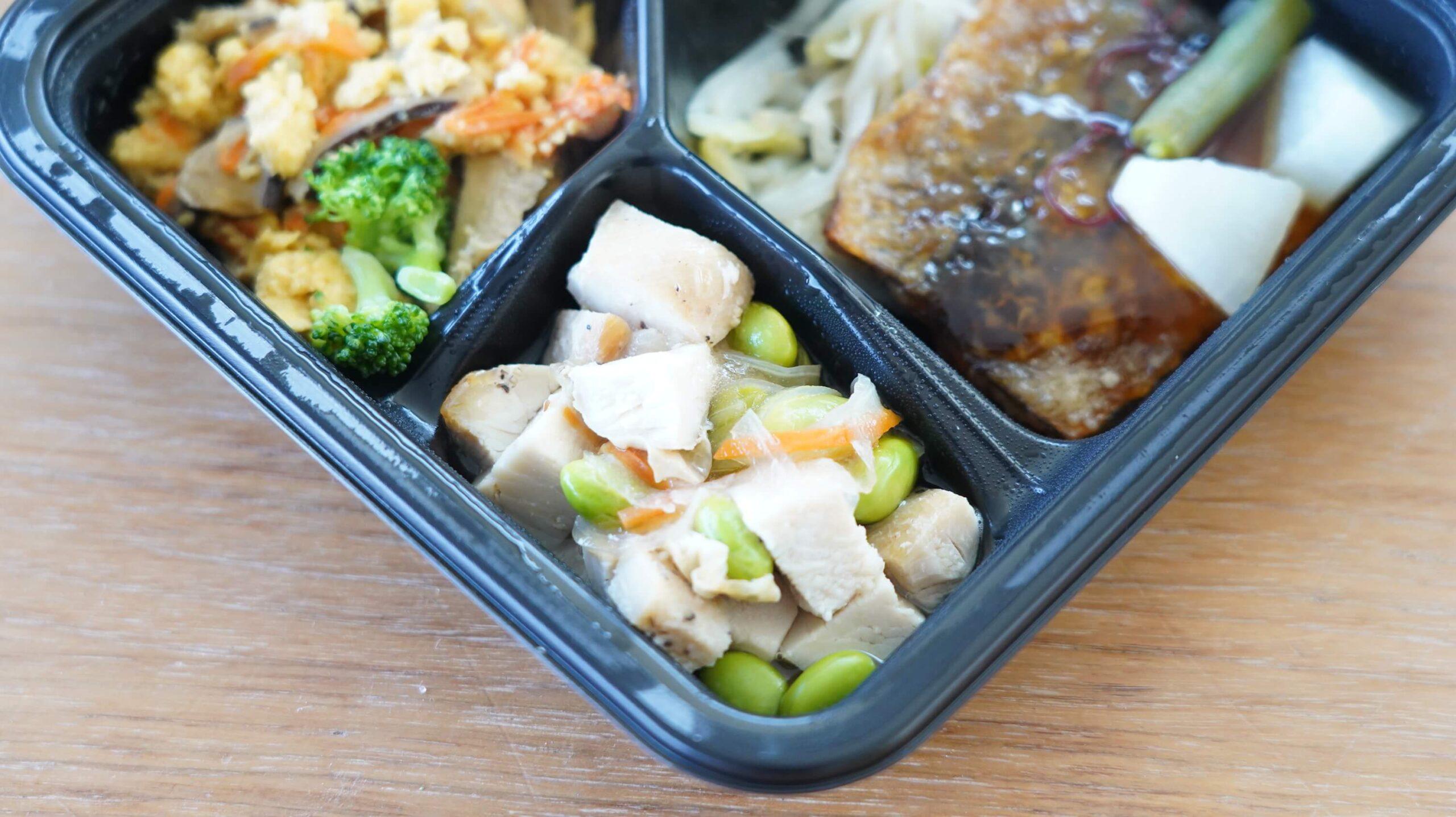 ライザップのサポートミール「さんまの竜田揚げ」の「鶏むね肉の甘酢あんかけ」の写真