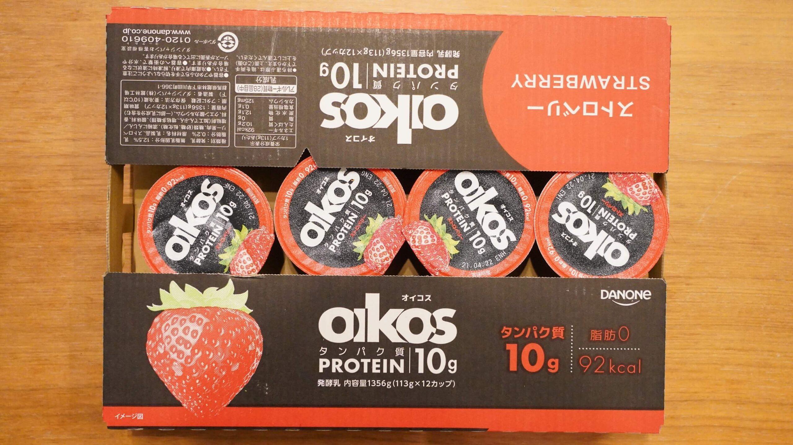 コストコで買ったオイコスのストロベリー味の箱の写真