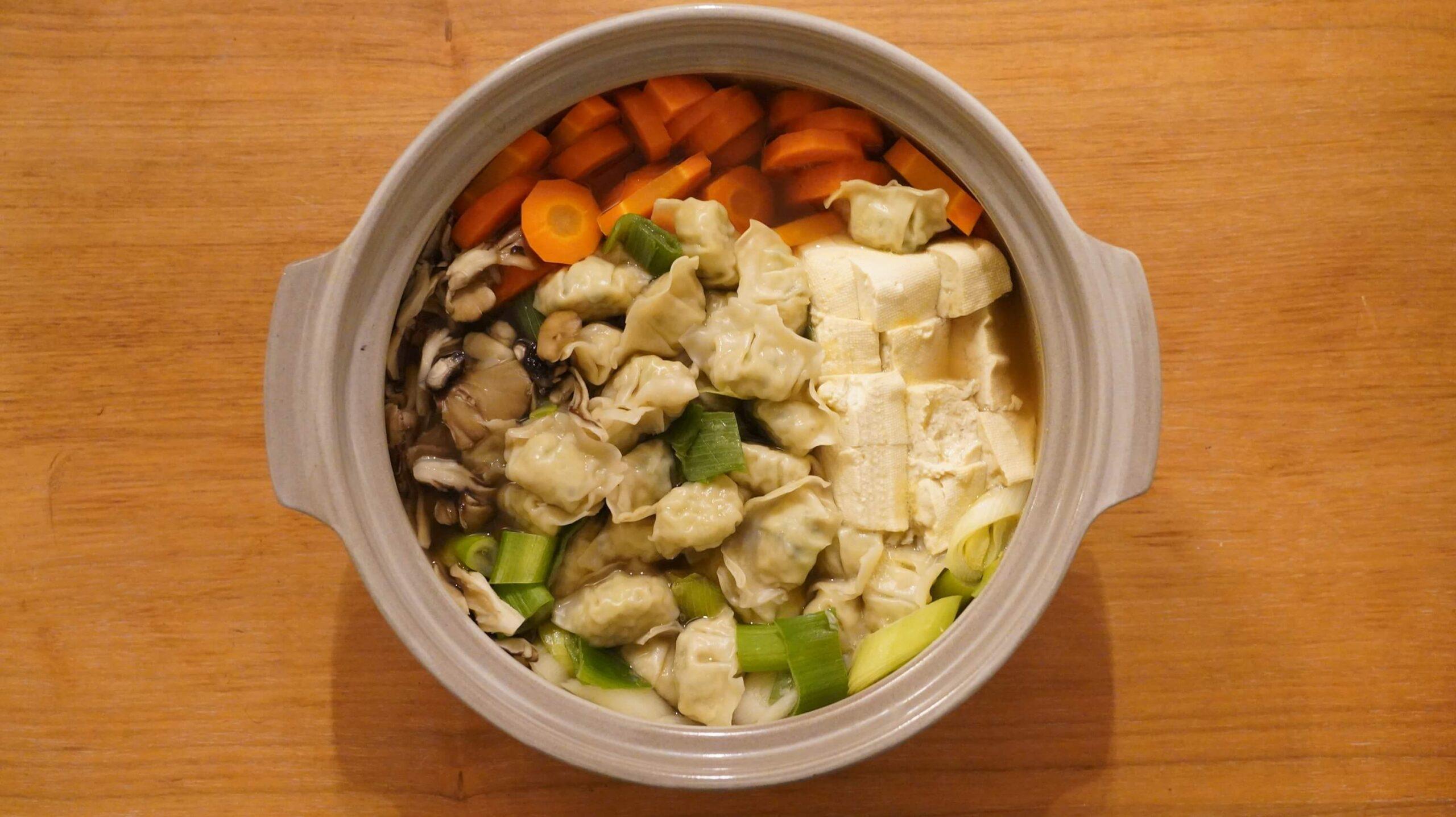 コストコの冷凍食品「bibigo 水餃子」を鍋に入れた写真