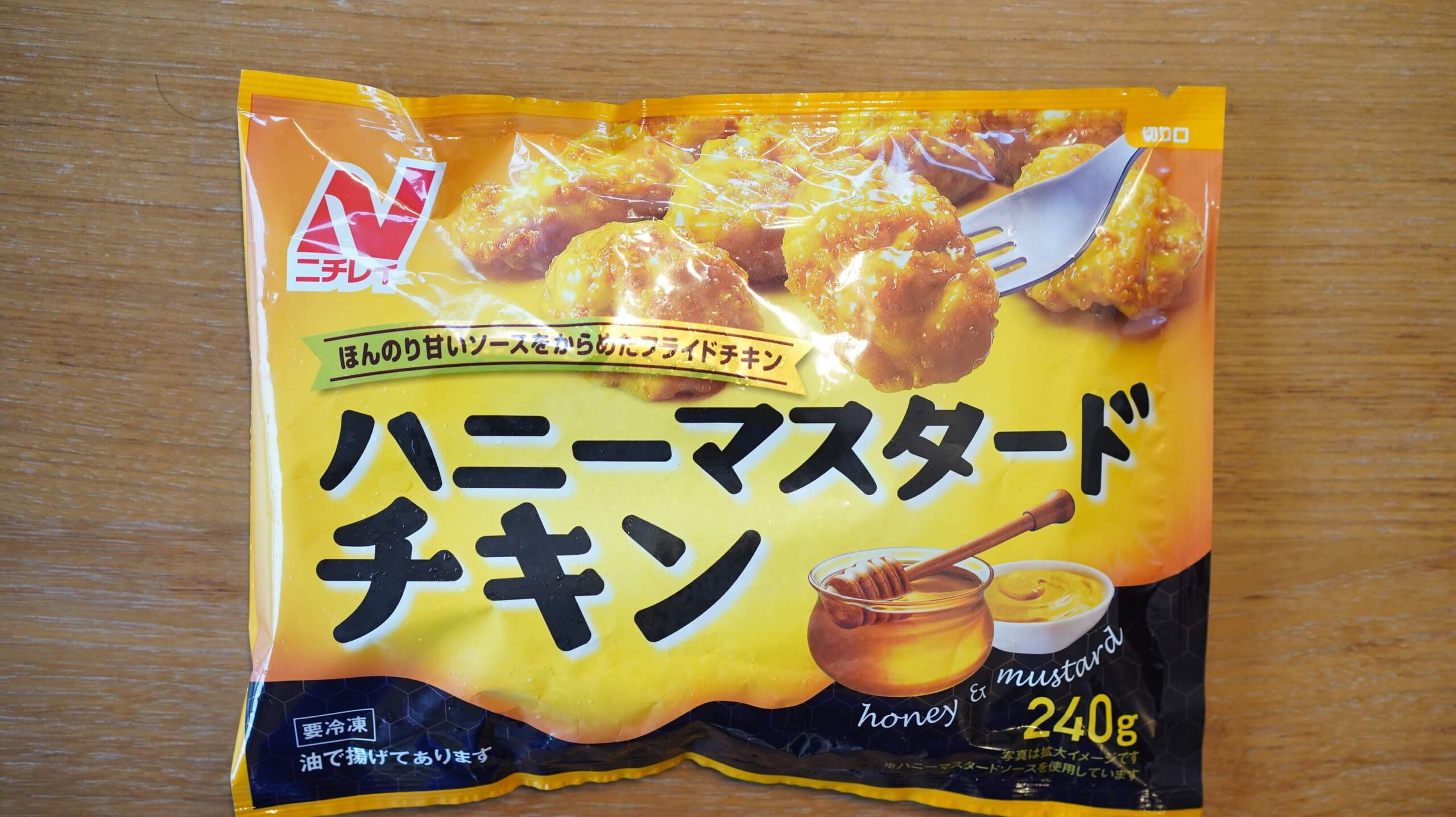 ニチレイの冷凍食品「ハニーマスタードチキン」のパッケージ写真