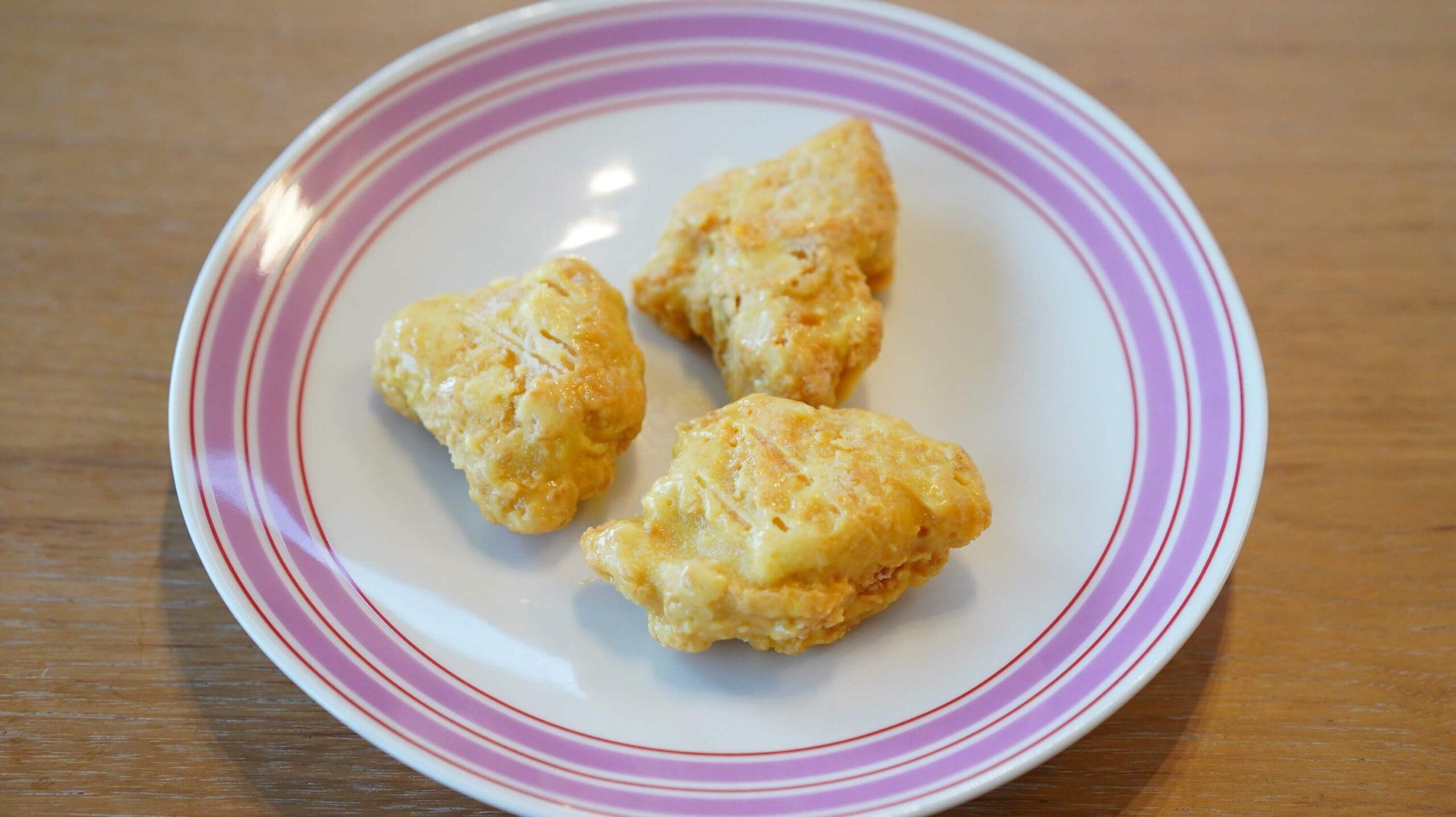 ニチレイの冷凍食品「ハニーマスタードチキン」の解凍前の写真
